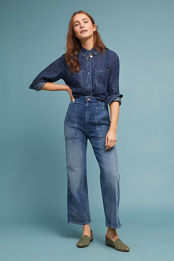 mother the greaser ultra high rise wide leg jeans anthropologie