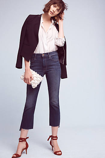 Mother Insider Crop High-Rise High-Low Jeans