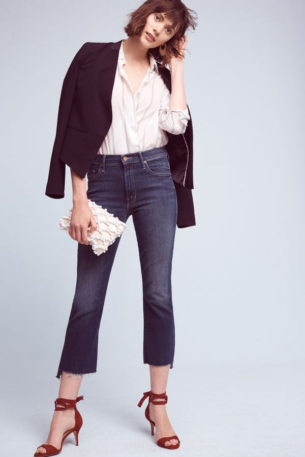 Mother Mother Insider Crop High-Rise High-Low Jeans
