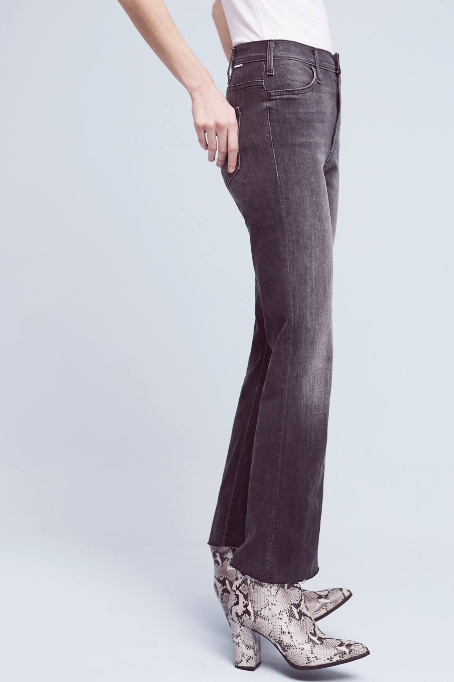 Slide View: 4: Mother Hustle Ultra High-Rise Ankle Fray Jeans