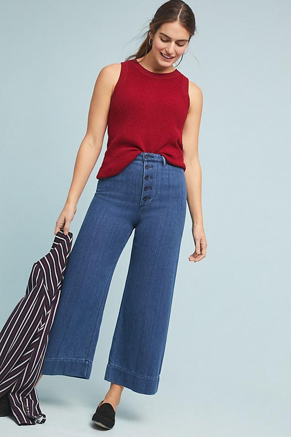 Pilcro Ultra High-Rise Wide-Leg Culotte Jeans - Blue, Size Uk 6