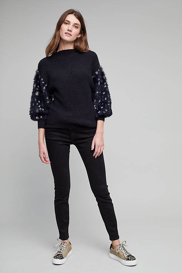 Pilcro High-Rise Serif Jeans - Black, Size 25