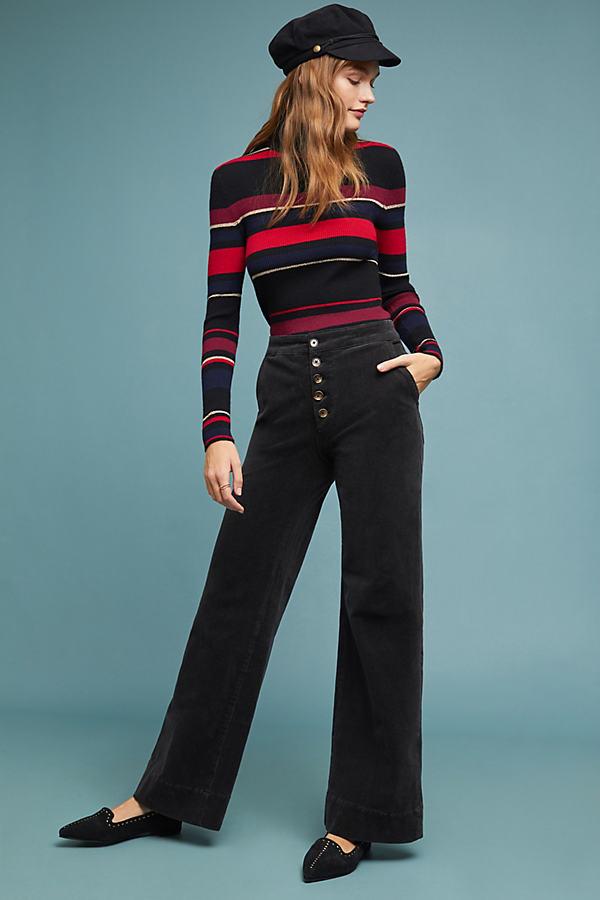 Pilcro Ultra High-Rise Wide-Leg Jeans - Black, Size 26