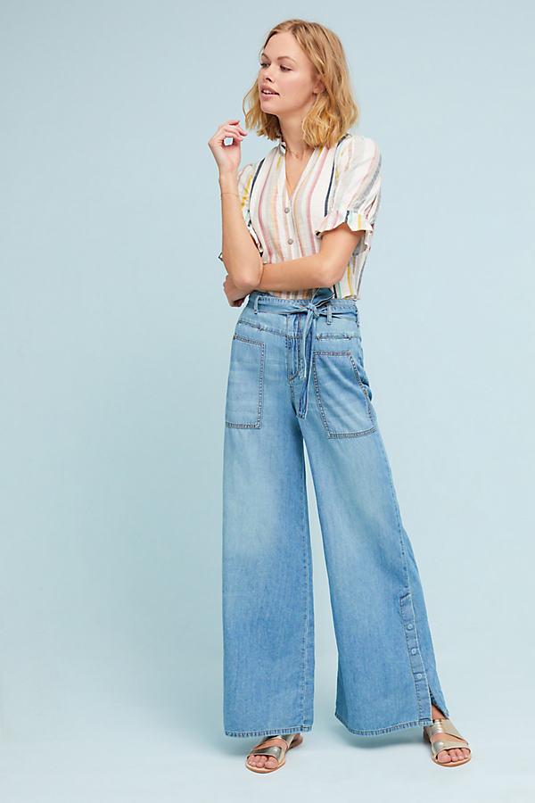 Pilcro High-Rise Wide-Leg Jeans - Blue, Size 26