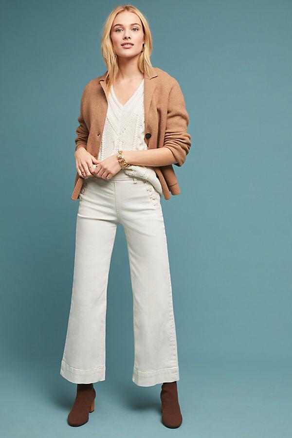 Pilcro High-Rise Wide-Leg Jeans - White, Size 32