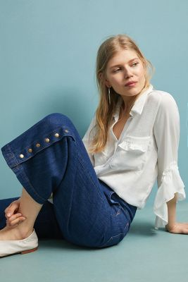 Pilcro High Rise Cropped Wide Leg Jeans by Pilcro And The Letterpress