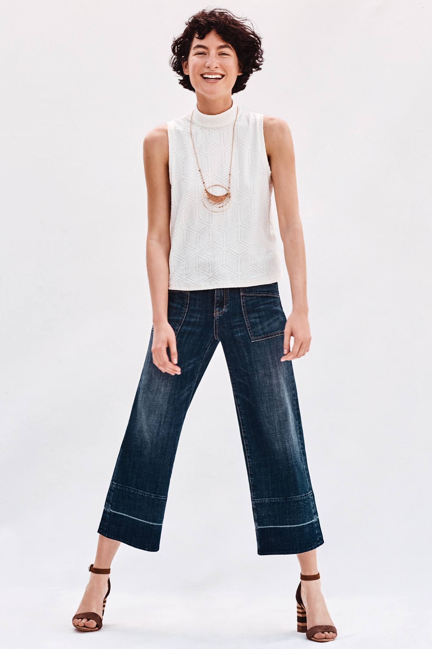 Pilcro Mid-Rise Wide-Leg Crop Jeans | Anthropologie