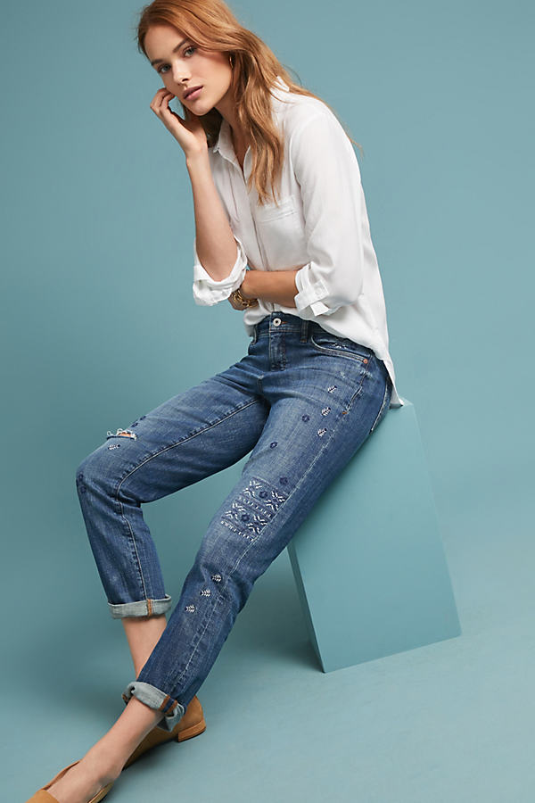 Pilcro Mid-Rise Slim Boyfriend Jeans - Blue, Size 26