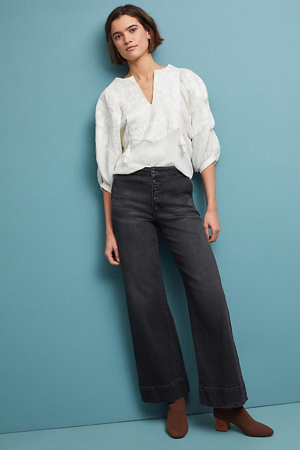 Pilcro Wide-Leg Jeans - Black, Size 25