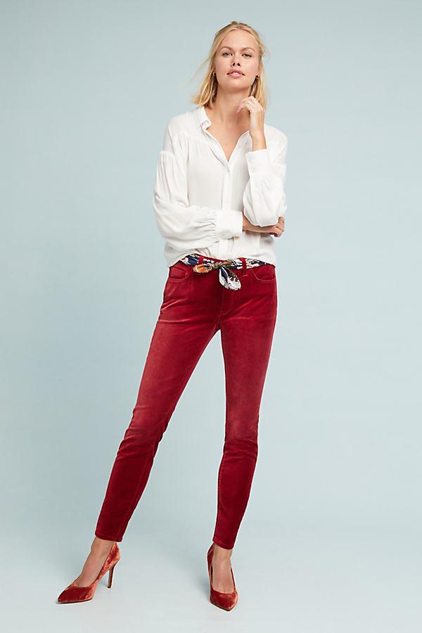 Pilcro High-Rise Skinny Velvet Jeans - Red, Size 30