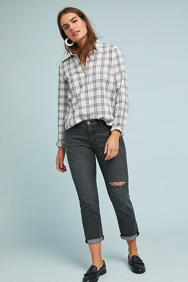 Pilcro Mid-Rise Slim Boyfriend Jeans - Black, Size 26