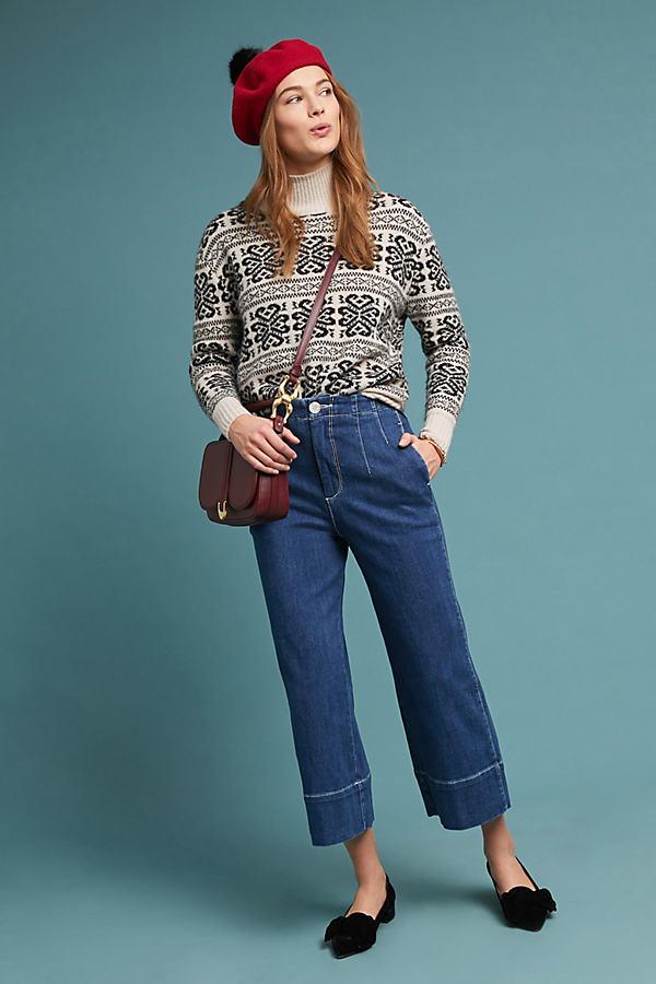 Pilcro Ultra High-Rise Wide-Leg Jeans - Blue, Size 31