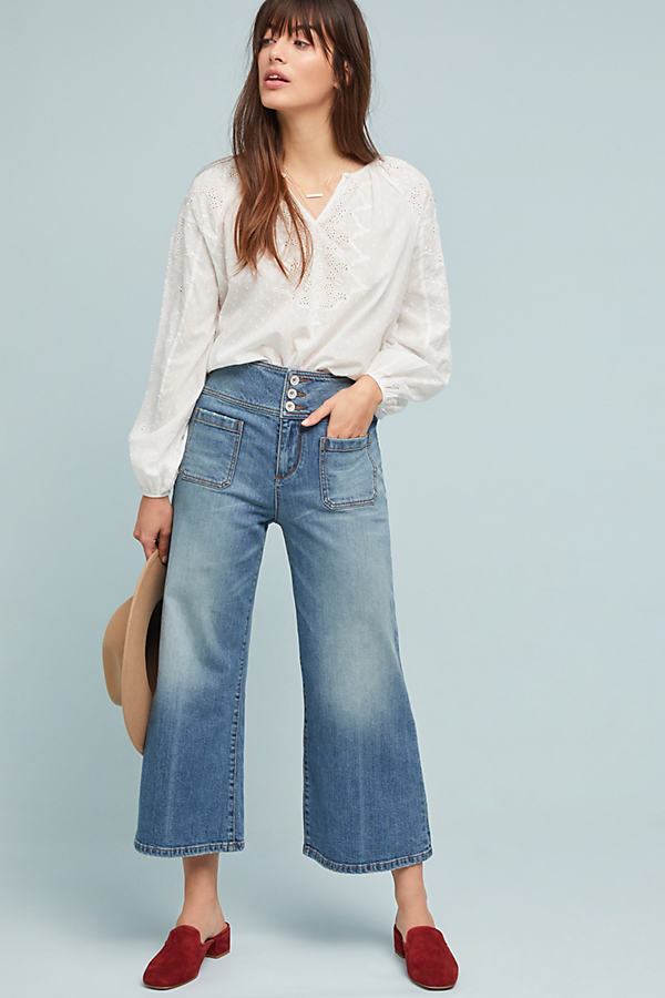 Pilcro Ultra High-Rise Cropped Wide-Leg Jeans - Blue, Size 26