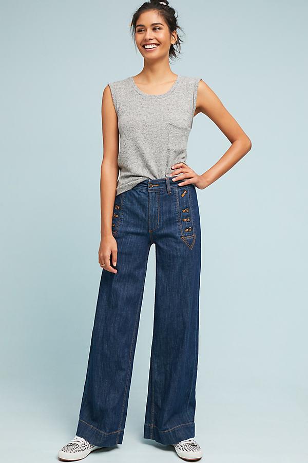 Pilcro Starboard Wide Leg Jeans - Denim Dark, Size 28