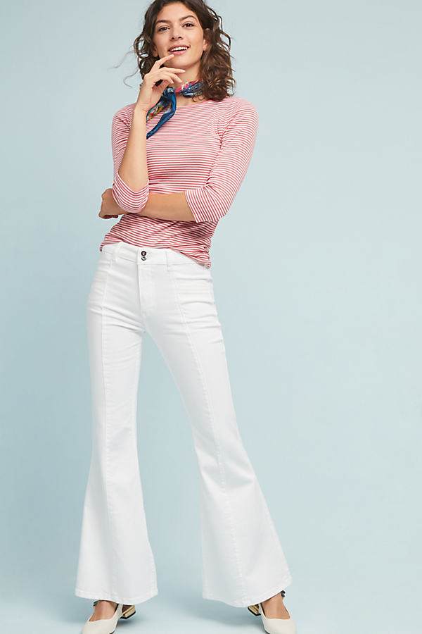 Pilcro Ultra High-Rise Flare Jeans - White, Size 27
