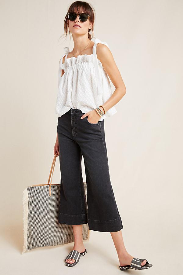 Pilcro Jemmie Cropped Wide-Leg Jeans - Black, Size 30