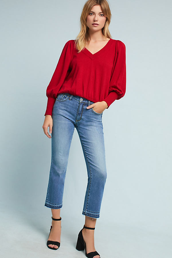 Pilcro High-Rise Cropped Flare Jeans - Denim Dark, Size 31
