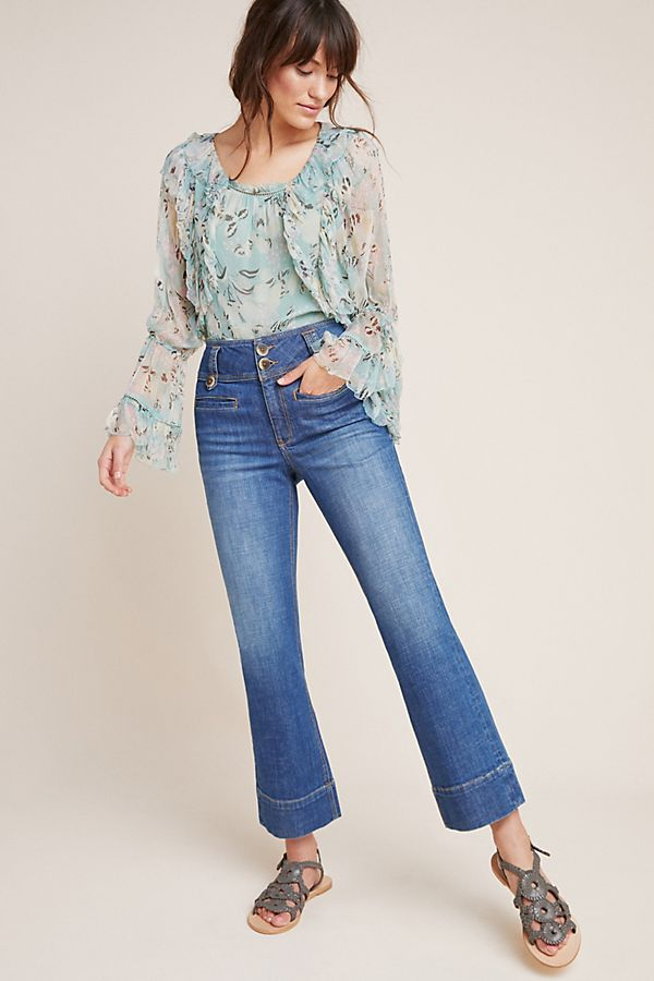 Slide View: 1: Pilcro High-Rise Cropped Flare Jeans
