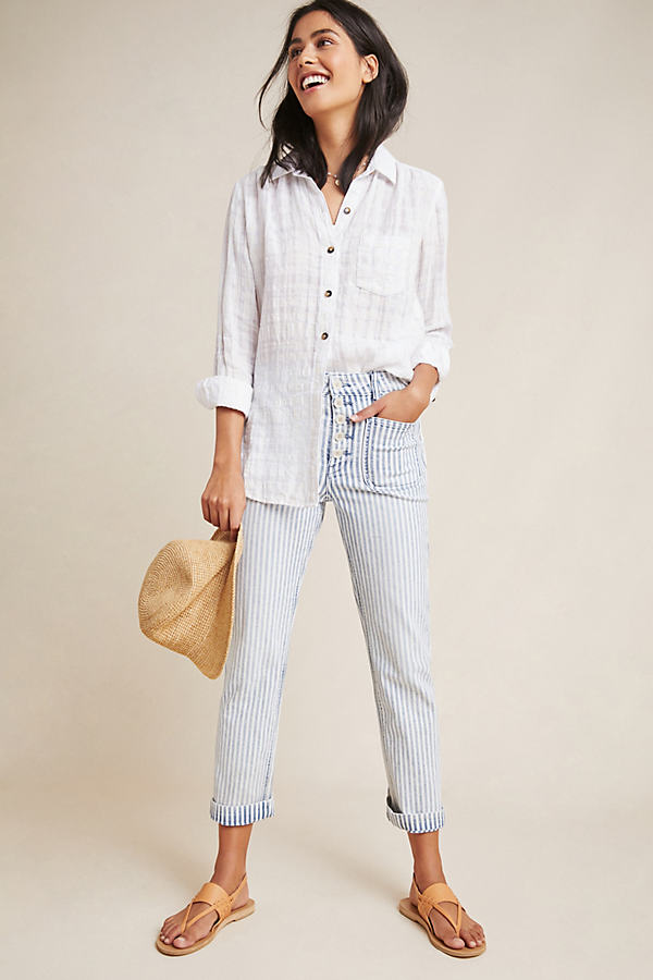 Pilcro High-Rise Railroad-Striped Jeans - Blue Motif, Size 31