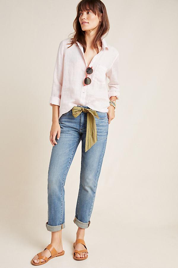 Mid-Rise Slim Boyfriend Jeans - Blue, Size 27