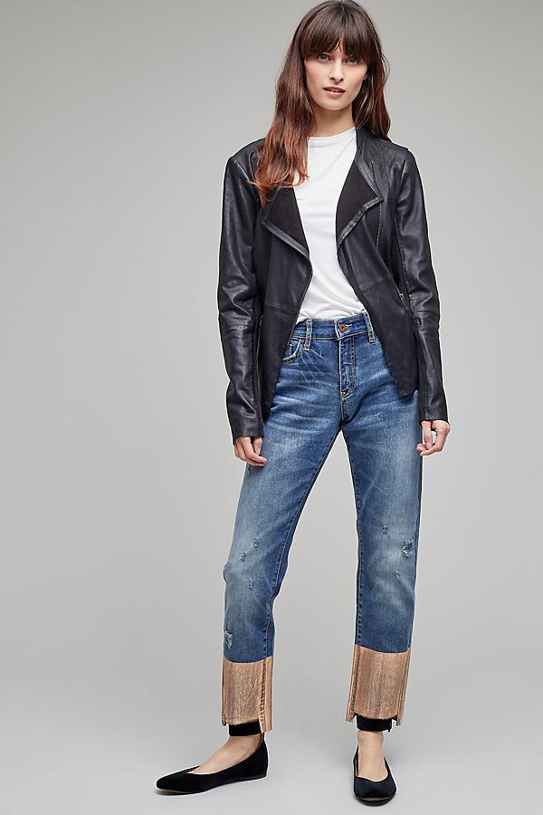 Foil-Print Slim Straight Jeans - Denim Dark, Size 27