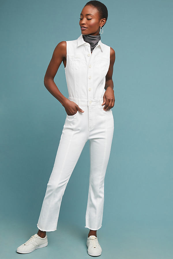 Pilcro Denim Jumpsuit - White, Size Uk 16