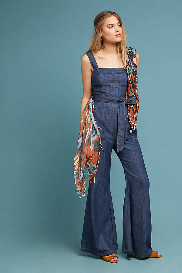 Pilcro Waist-Tied Denim Jumpsuit - Blue, Size Uk 14