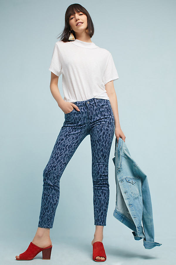 Pilcro Leopard Mid-Rise Skinny Jeans - Grey Motif, Size 31