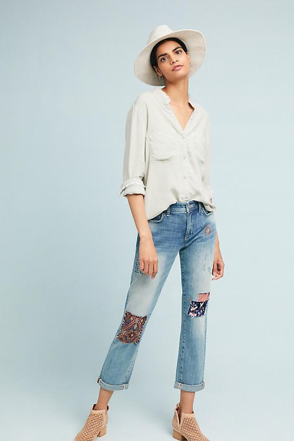 Pilcro Patchwork Slim Boyfriend Jeans - Blue, Size 26