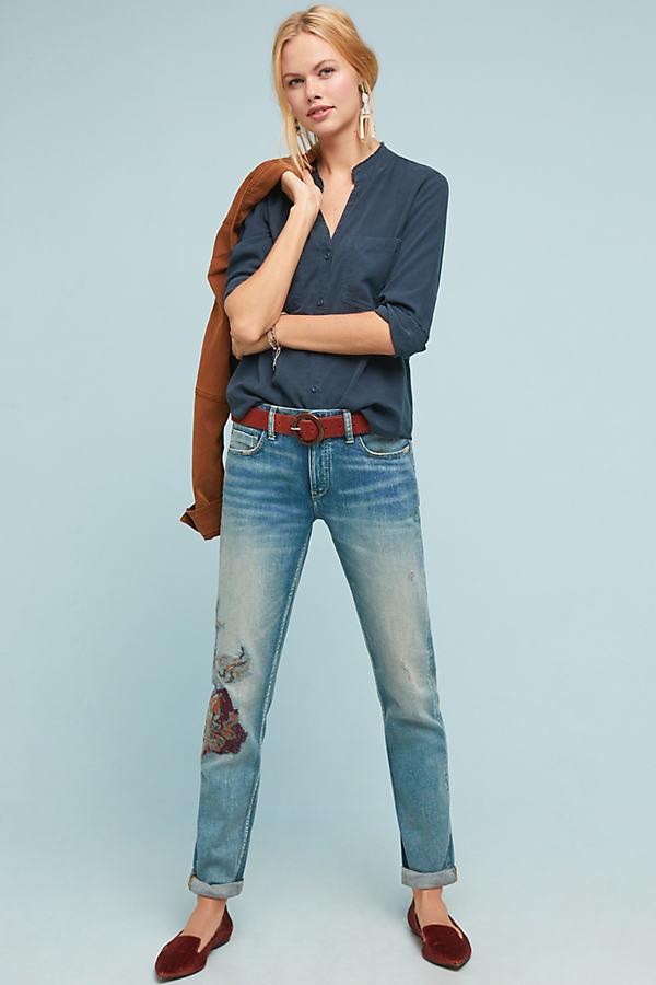 Pilcro Mid-Rise Patchworked Slim Boyfriend Jeans - Blue, Size 25