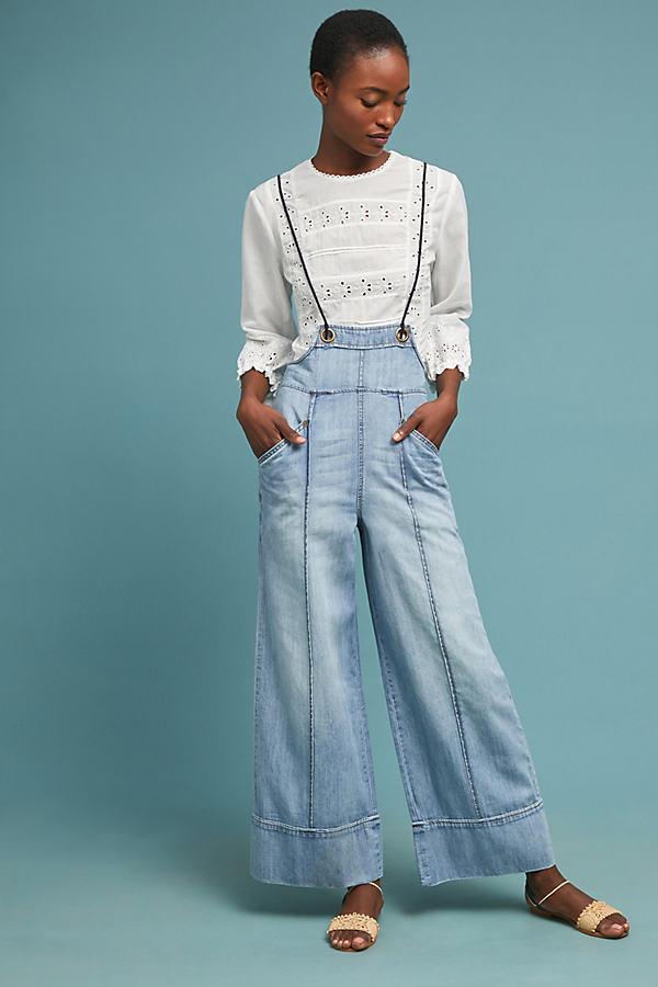 Pilcro Denim Utiliy Jumpsuit - Blue, Size Xl