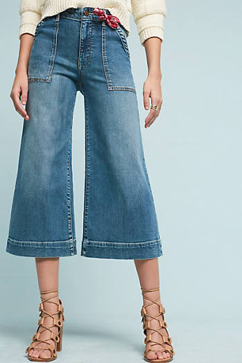 Pilcro Utility High-Rise Cropped Wide-Leg Jeans