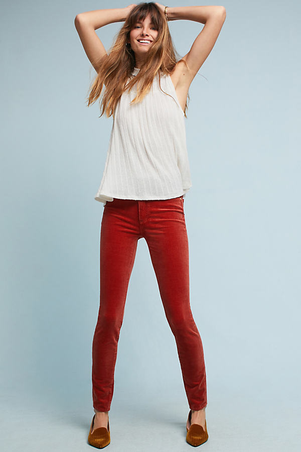 Pilcro Corduroy High-Rise Skinny Jeans - Medium Orange, Size 26