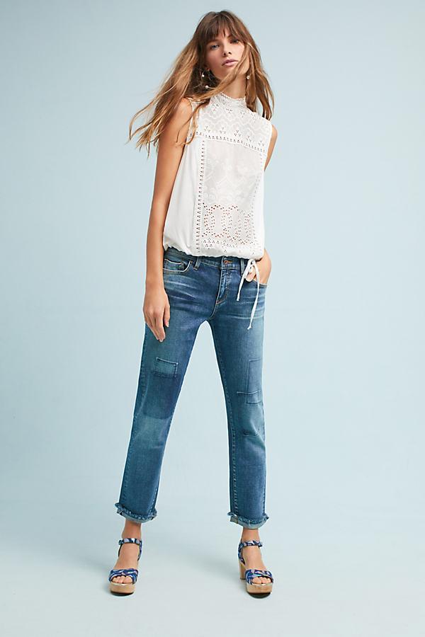 Pilcro Mid-Rise Slim Boyfriend Cropped Jeans - Denim Dark, Size 28