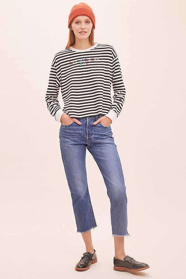 Levi's 501 Cropped Raw-Hem Jeans - Blue, Size 31