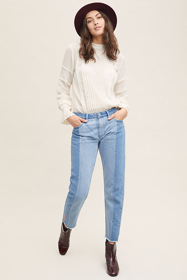 2nd Day Stevie High-Rise Fringed Straight Jeans - Blue, Size 27
