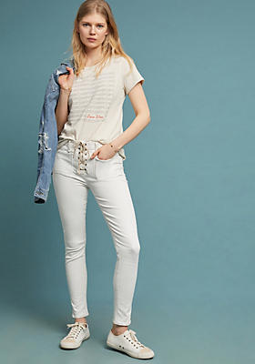 Slide View: 1: McGuire Isabeli Mid-Rise Lace-Up Skinny Jeans
