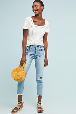 Slide View: 1: McGuire Valetta High-Rise Cropped Jeans