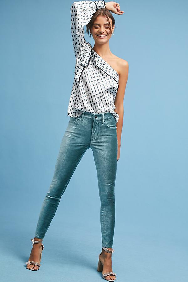 Pilcro Mid-Rise Skinny Velvet Jeans - Green, Size 25 Petite