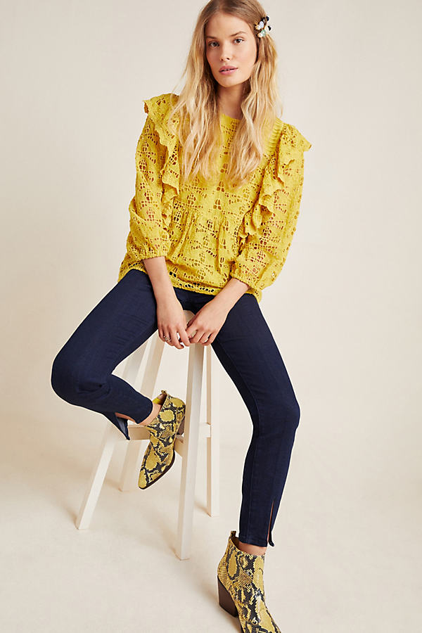 Pilcro Slit-Front Skinny Jeans - Blue, Size 26