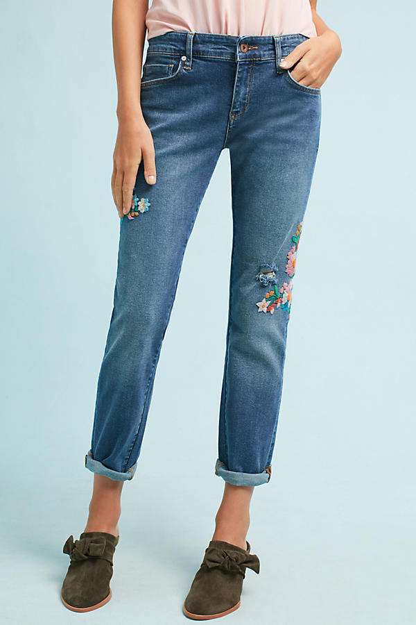 Slide View: 2: Wynona Embroidered Jeans, Blue