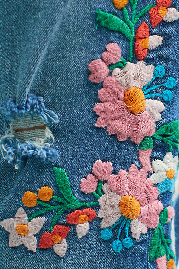 Slide View: 4: Wynona Embroidered Jeans, Blue