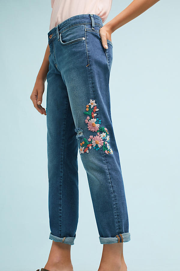 Slide View: 5: Wynona Embroidered Jeans, Blue