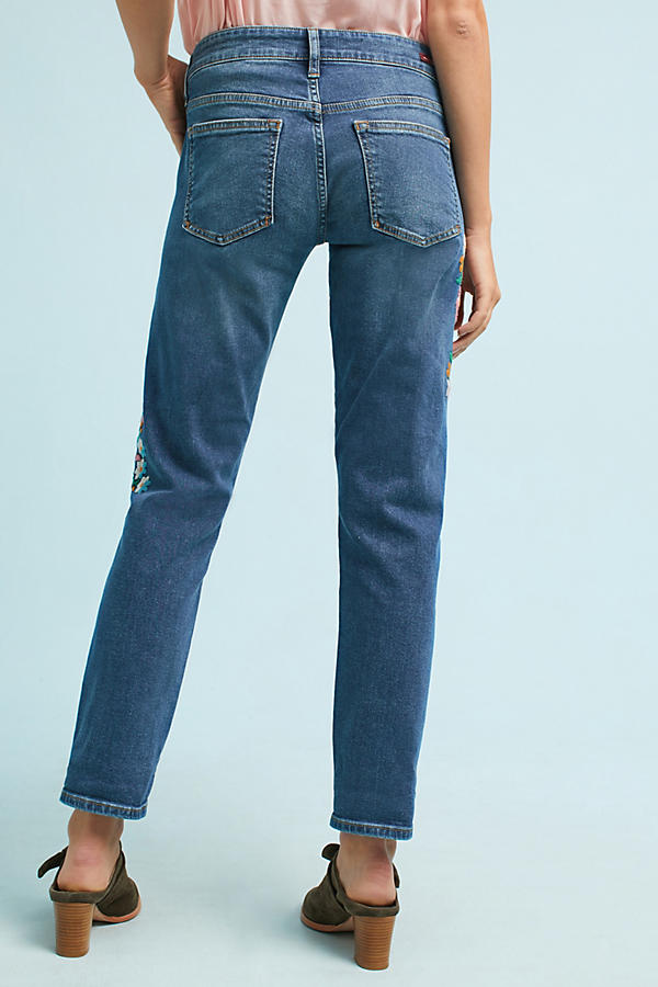 Slide View: 6: Wynona Embroidered Jeans, Blue
