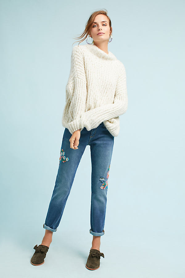 Wynona Embroidered Jeans, Blue - Denim Medium Blue, Size 28
