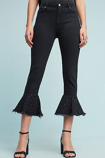 Pilcro Embroidered High-Rise Slim Flounced Jeans