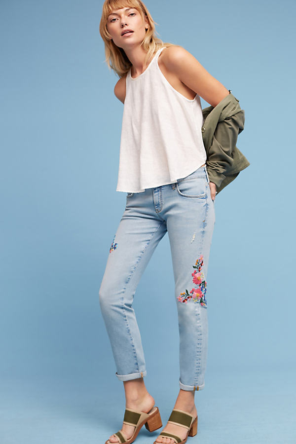 Pilcro Floral Embroidered Mid-Rise Jeans - Denim Light, Size 26