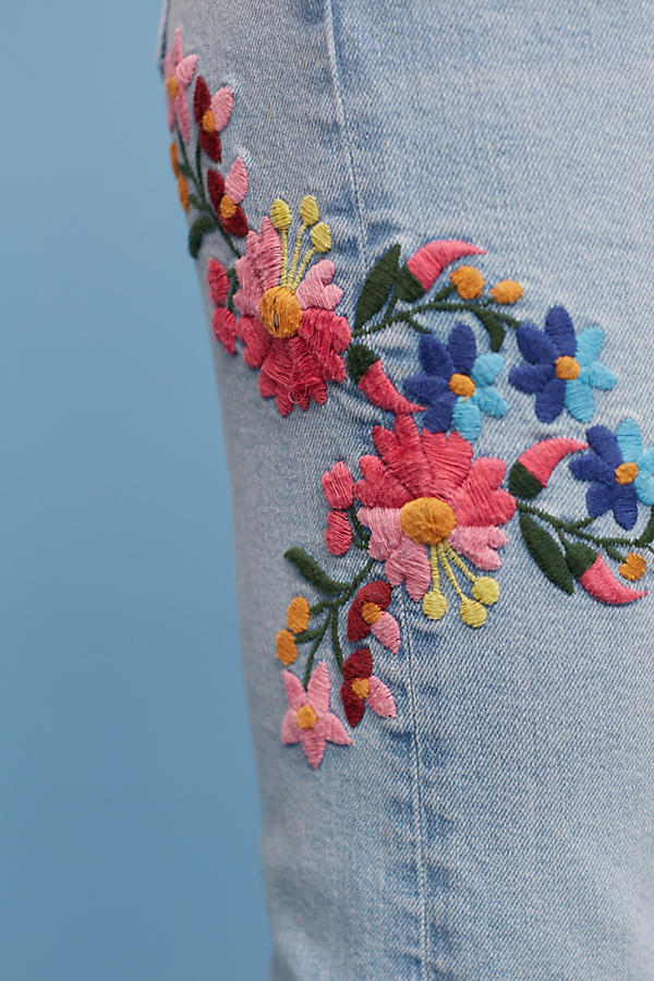 Slide View: 4: Pilcro Floral Embroidered Mid-Rise Ankle Jeans
