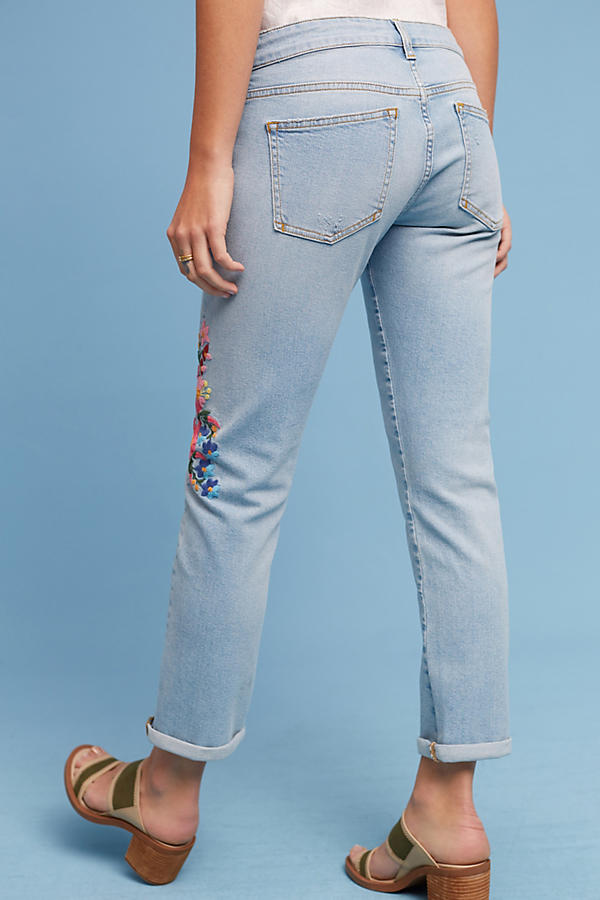 Slide View: 5: Pilcro Floral Embroidered Mid-Rise Ankle Jeans