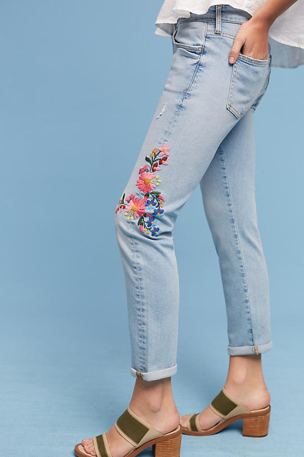 Slide View: 1: Pilcro Floral Embroidered Mid-Rise Ankle Jeans